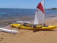 Ocean Kayak with Sail and Outriggers