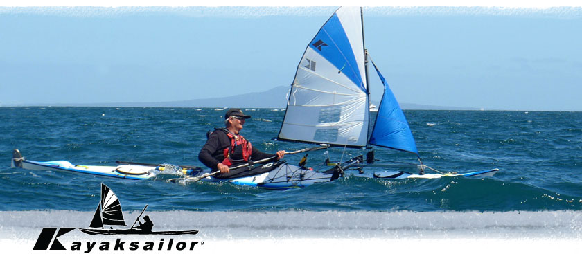 sailing in New Zealad on a Barracuda sea kayak with leeboards and genoa sail