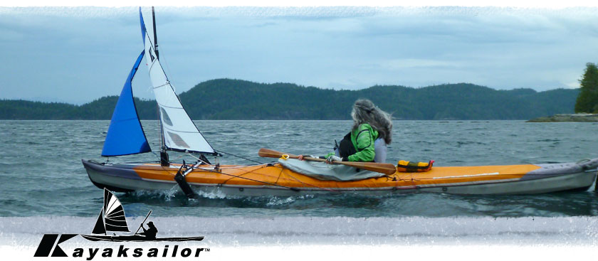 sailing sea kayak Johnstone Strait Vancouver Island kayaking near Telegraph Cove whales and wind